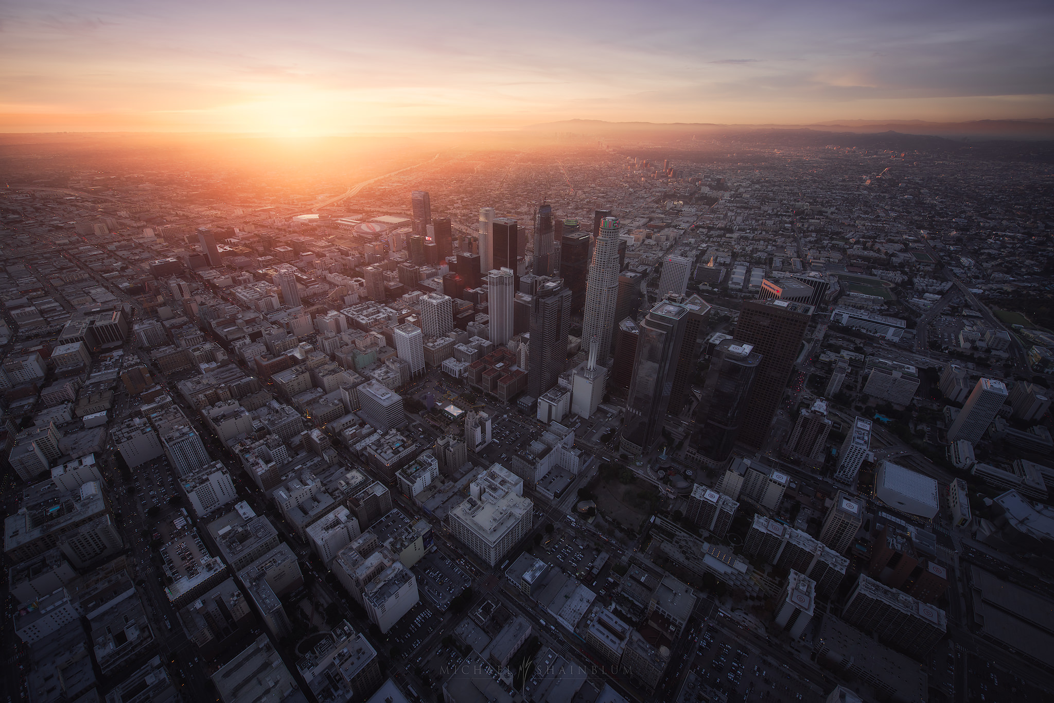 Downtown Los Angeles aerial photography at sunset.