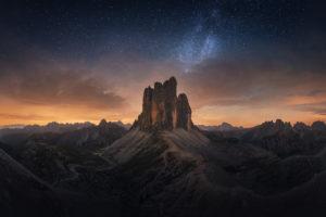 Tre Cime Dolomites Milky Way