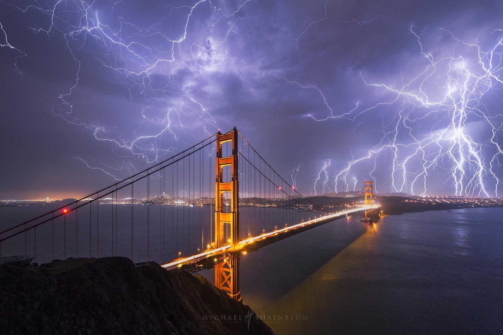 San Francisco Lightning Golden Gate Bridge Photography.