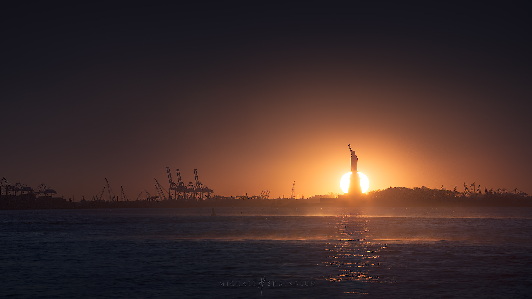 New York City, Statue of Liberty Sunset Cityscape Photography