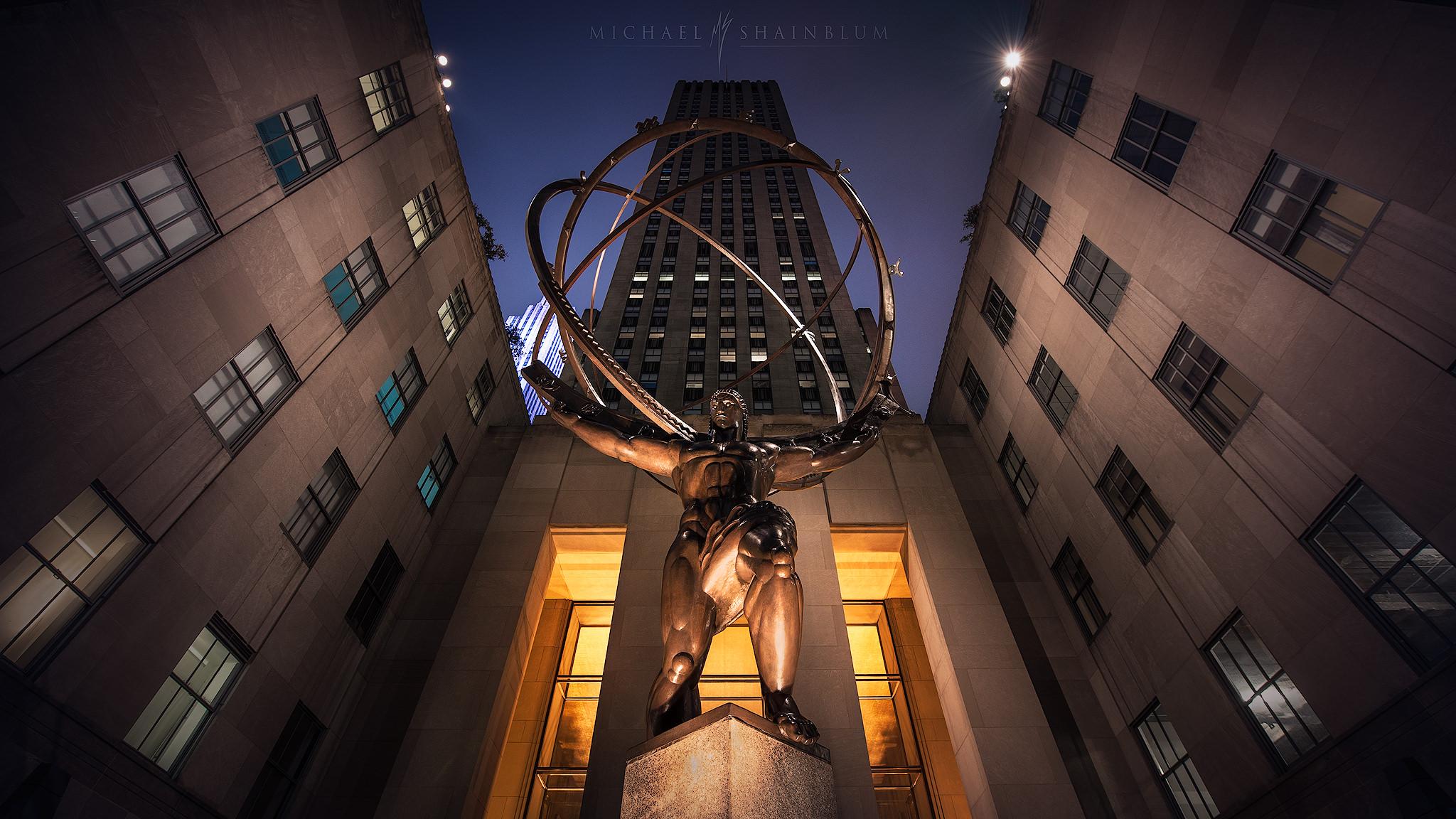New York City, Night Rockefeller Center Atlas Cityscape Photography